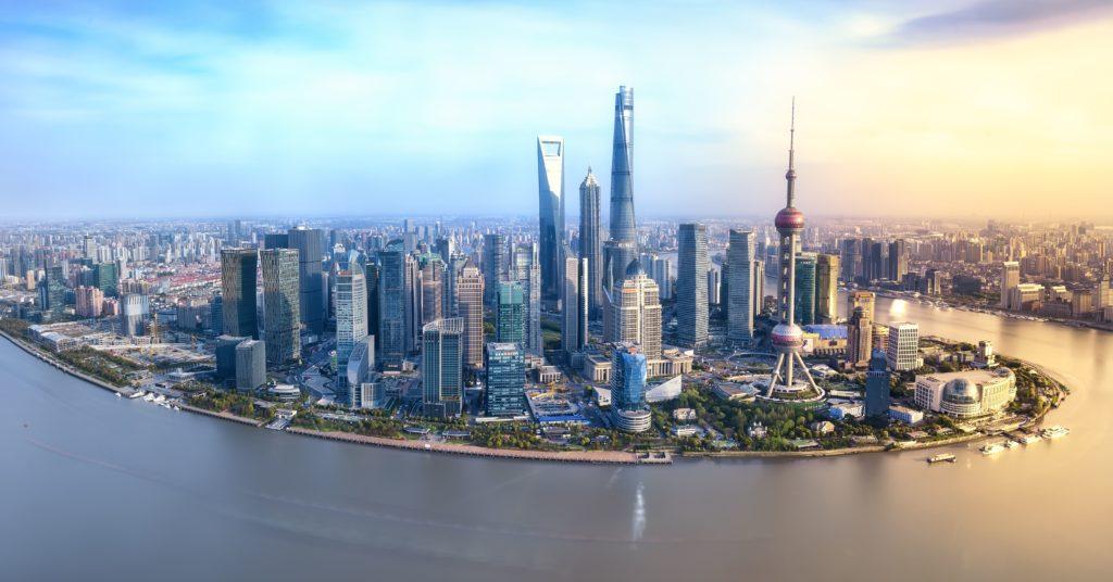 Aerial view of Shanghai China